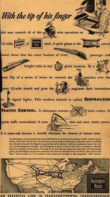 Burlington Route's Centralized Traffic Control – With the tip of his finger (1944)