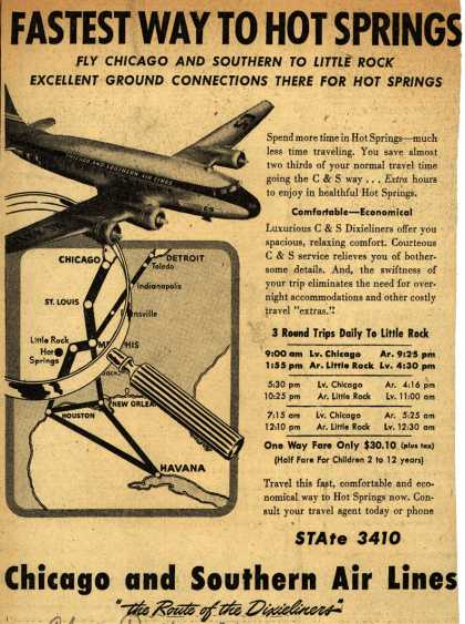 Chicago and Southern Air Line's Little Rock – Fastest Way To Hot Springs (1946)