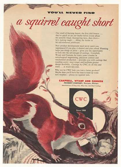 Squirrel Stores Nuts art CWC Foundry Co (1953)