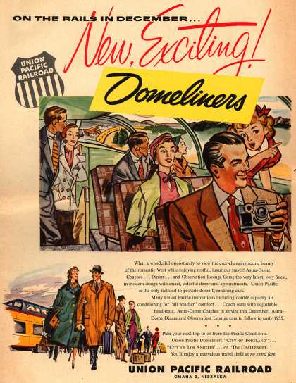 Union Pacific Railroad's Astro-Dome coaches – New, Exciting! Domeliners (1954)
