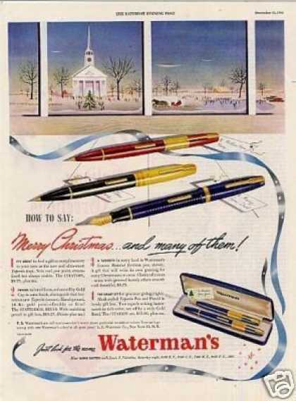 """Waterman's Pens Ad """"How To Say Merry... (1945)"""