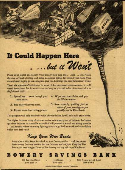 Bowery Savings Bank's Anti-inflation – It Could Happen Here... but it Won't (1944)