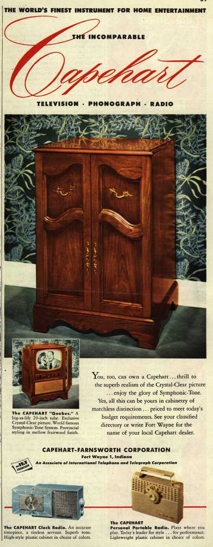 Capehart-Farnsworth Corporation's The Capehart Quebec – The World's Finest Instrument for Home Entertainment. The Incomparable Capehart Television, Phonograph, Radio. (1952)
