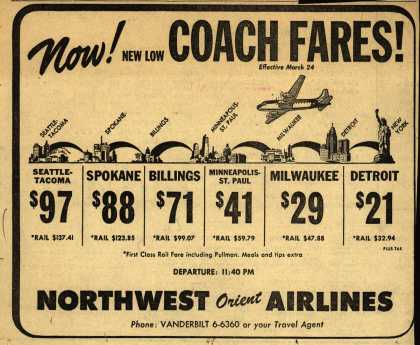 Northwest Airline's Low Coach Fares – NOW! NEW LOW COACH FARES (1949)