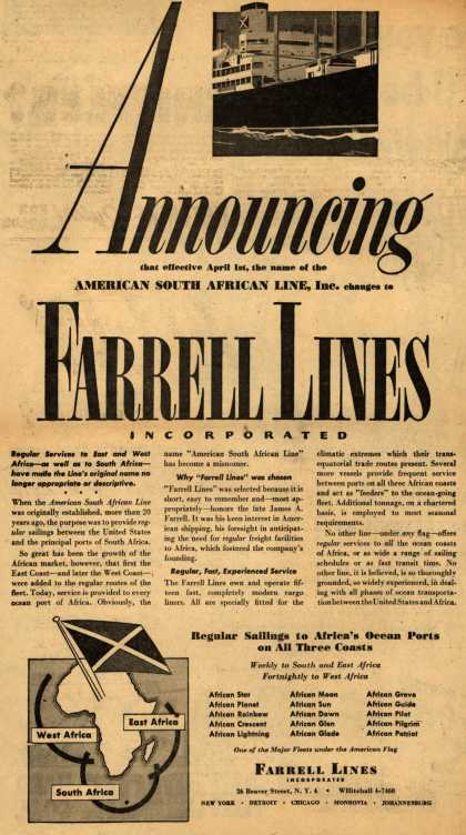 Farrell Lines – Announcing that effective April 1st, the name of the American South African Line, Inc. changes to Farrell Lines Incorporated. (1949)
