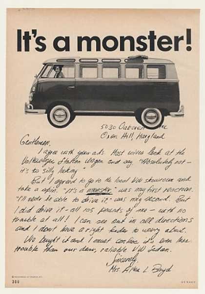 VW Station Wagon It's a Monster Mrs Boyd Letter (1964)