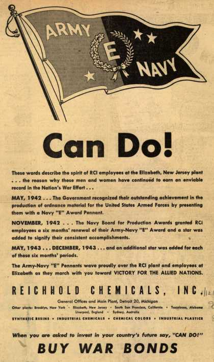 """Reichhold Chemical's Army Navy """"E"""" – Can Do (1944)"""