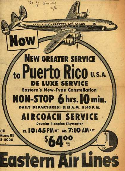 Eastern Air Line's Puerto Rico – New Greater Service to Puerto Rico (1952)