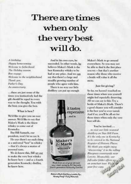 """Makers Mark Whiskey """"Tastes Expensive...and Is"""" (1975)"""