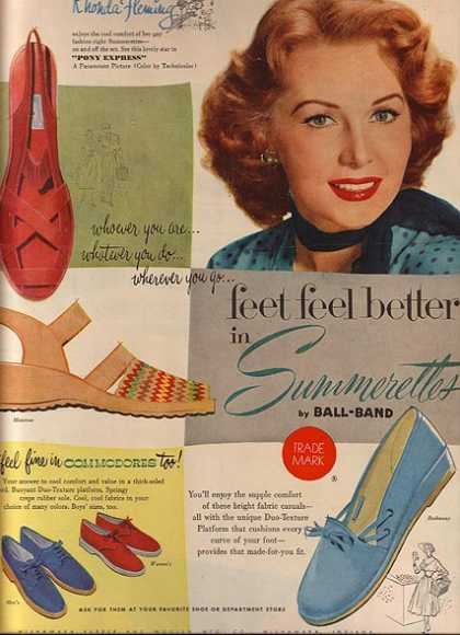 Summerettes shoes by Ball-Band – Rhonda Fleming (1953)