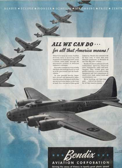 Bendix Wwii Fighter Bomber Air Force Plane Ad T (1942)