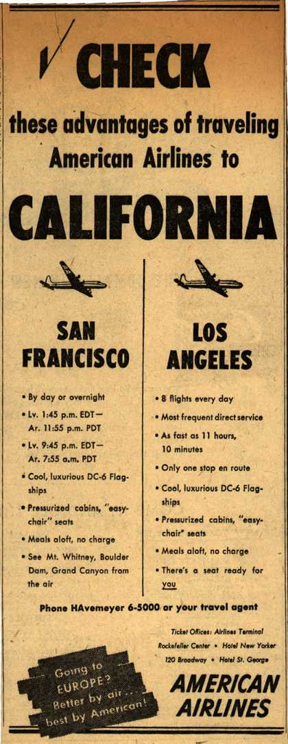 American Airline's California destinations – Check these advantages of traveling American Airlines to California (1948)