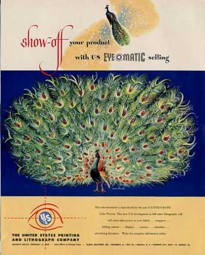 Us Printing & Litho Co Show-off Peacock (1950)