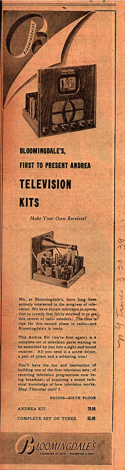 Bloomingdale's Andrea Television Kit – Bloomingdale's, First to Present Andrea Television Kits (1939)