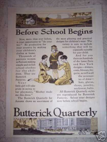 Butterick Patterns Fashion for School (1917)