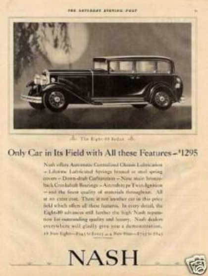 """Nash Eight 80 Sedan Ad """"Only Car In Its... (1931)"""