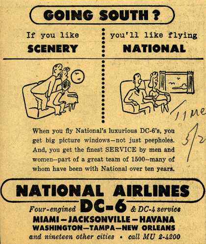 National Airline's Service and big windows – Going South? If you like scenery you'll like flying National (1948)