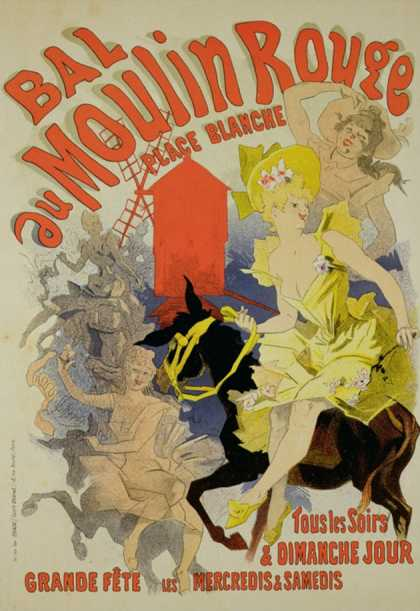 """Reproduction of a Poster Advertising the """"Bal Au Moulin Rouge,"""" (1889)"""