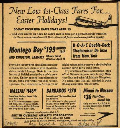 British Overseas Airways Corporation's Montego Bay, Nassau, Barbados – New Low 1st-Class Fares For... Easter Holidays (1954)