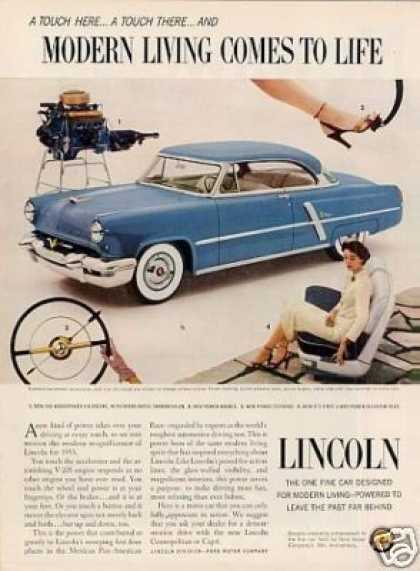 """Lincoln Car Ad """"Modern Living Comes... (1953)"""