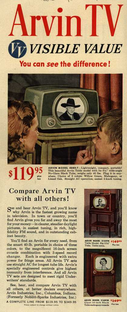 Arvin Industrie's Television – Arvin TV. VV, Visible Value. You Can See the Difference (1950)