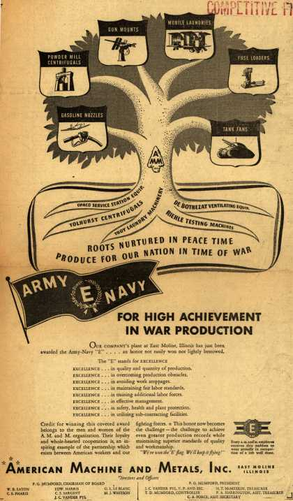 """American Machine And Metal's Army Navy """"E"""" – For High Achievement In War Production (1942)"""