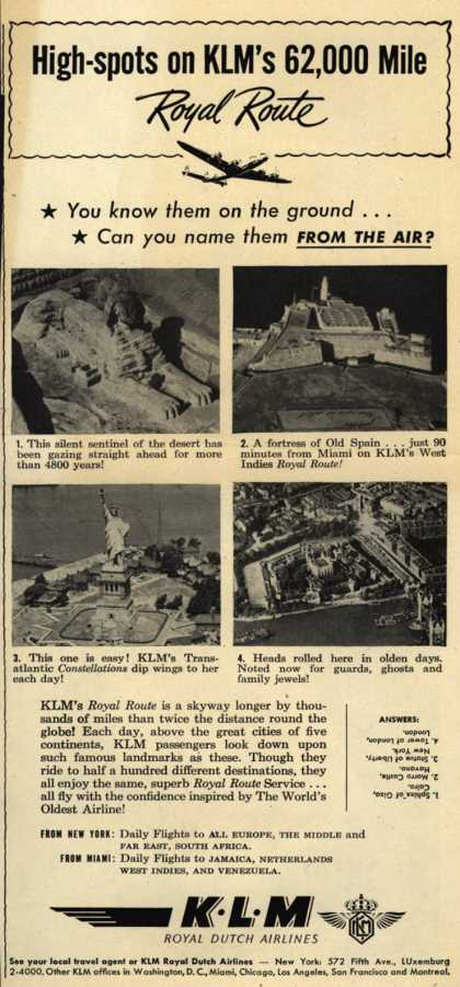 KLM Royal Dutch Airline's World Travel – High-spots on KLM's 62,000 Mile Royal Route (1948)