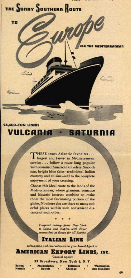 American Export Line's Italian Line – The Sunny Southern Route to Europe via the Mediterranean (1948)