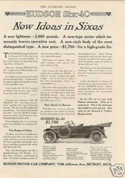 """Hudson Six-40 Car Ad """"New Ideas In Sixes... (1914)"""