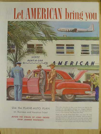 American Airlines. Use the plane auto plan. Hertz Drive Ur Self System 2 Page (1952)