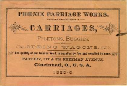 Phoenix Carriage Work's carriages, phaetons, buggies, and spring wagons – Phoenix Carriage Works (1885)