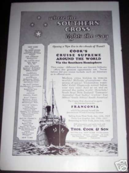 Original Cook's Cruise Ships Ad the Southern Cross (1926)
