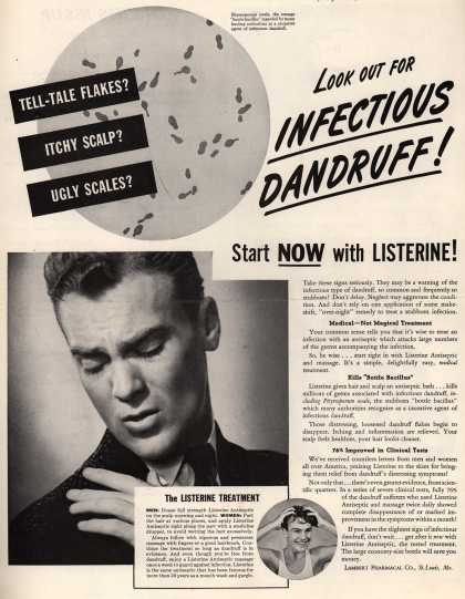 Lambert Pharmacal Company's Listerine Antiseptic – Look Out For Infectious Dandruff (1941)