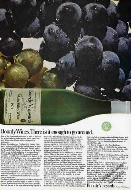 """Boordy Wines """"There Isn't Enough To Go Around"""" (1973)"""