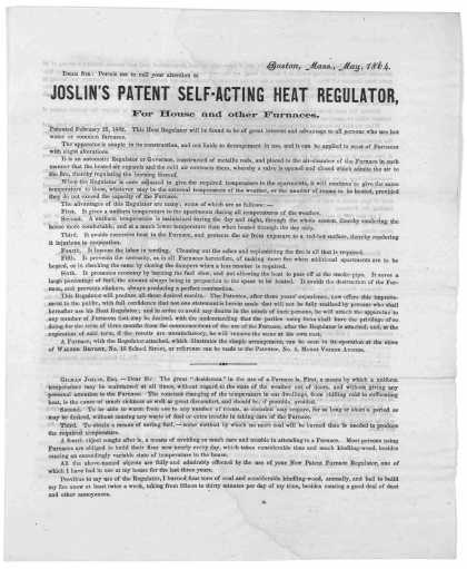 ... Joslin's patent self-acting heat regulator, for house and other furnances. [Boston, 1864]. (1864)