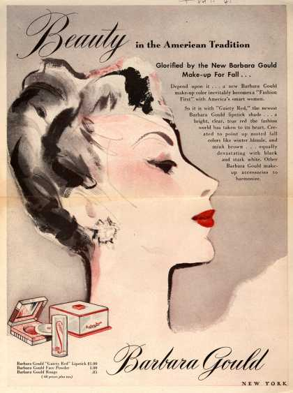 Barbara Gould's Gaiety Red makeup – Beauty in the American Tradition (1945)