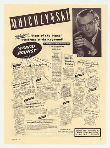 Pianist Witold Malcuzynski Photo Booking Promo (1953)