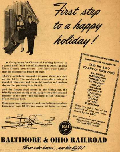Baltimore & Ohio Railroad's pleasant atmosphere, good service, good food – First step to a happy holiday (1947)