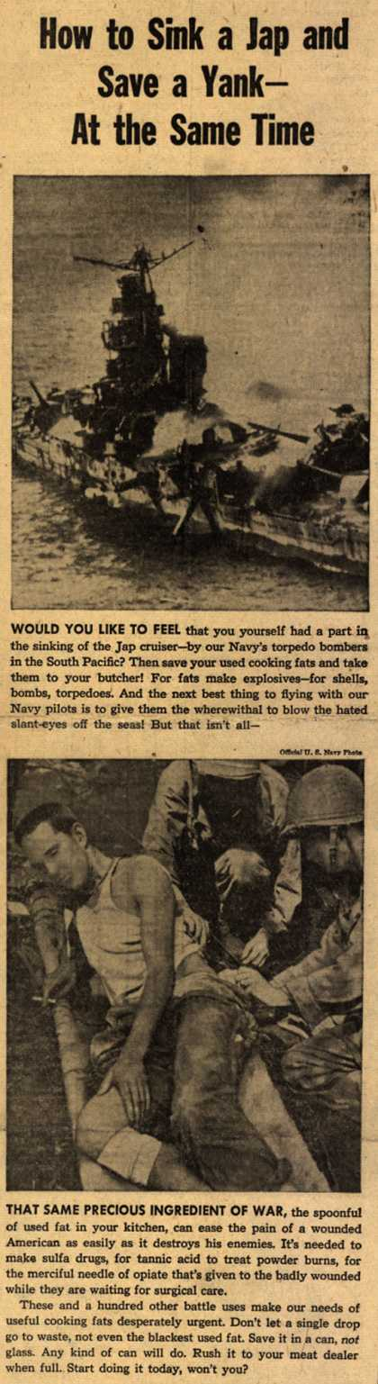 War Production Board's Kitchen Fats – How to Sink a Jap and Save a Yank – At the Same Time (1943)