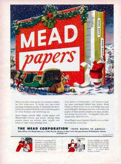 Mead Papers Christmas – Santa's Christmas List – Sold (1952)