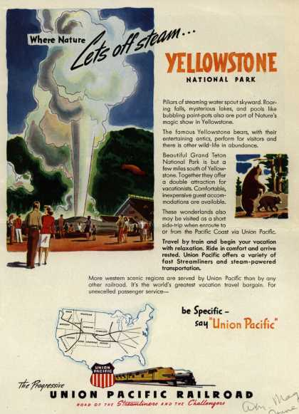 Union Pacific Railroad's Vacation Travel – Where Nature Lets Off Steam...Yellowstone National Park (1946)