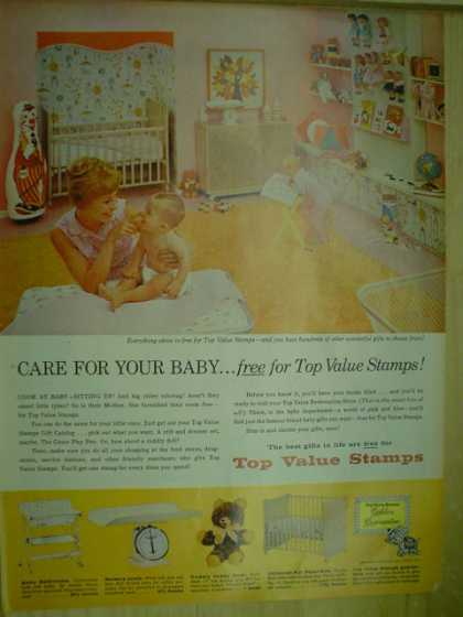 Top Value Stamps. Care for your baby free (1960)