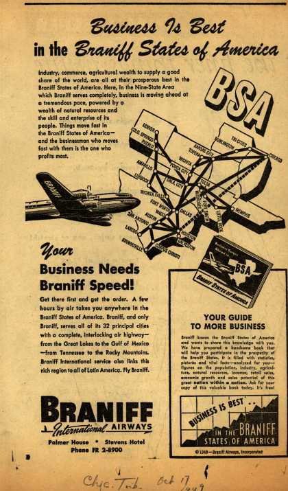 Braniff International Airway's Business Travel – Business is Best in the Braniff States of America (1949)