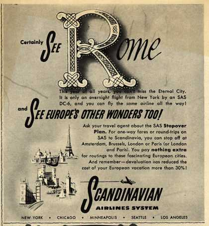 Scandinavian Airlines System's Rome – Certainly See Rome and See Europe's Other Wonders Too (1950)