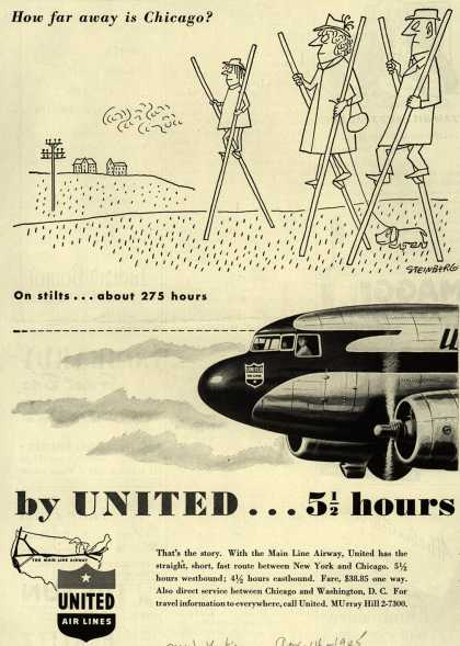 United Air Line's Chicago – How far away is Chicago? On stilts... about 275 hours by United... 5 1/2 hours (1945)