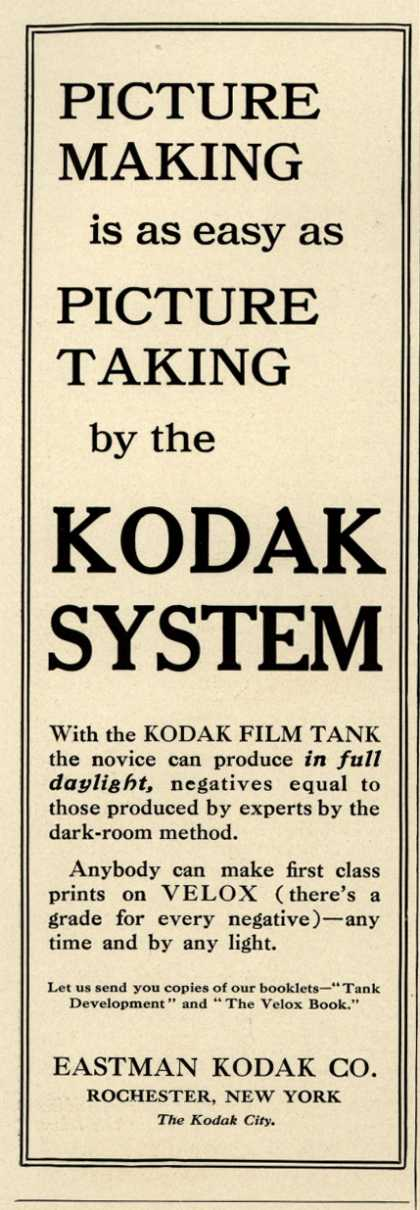Kodak – PICTURE MAKING is as easy as PICTURE TAKING by the KODAK SYSTEM (1909)