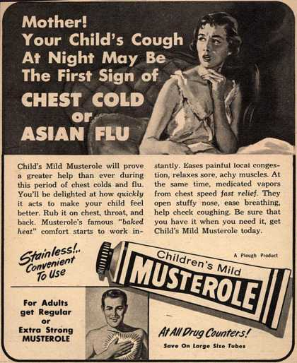 Plough's Musterole – Mother! Your Child's Cough At Night May Be the First Sign of Chest Cold or Asian Flu (1958)
