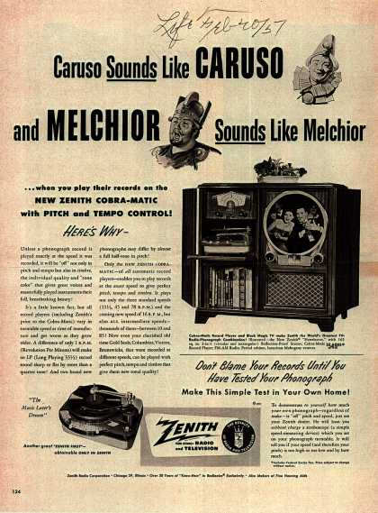 Zenith Radio Corporation's Radio Phonograph Television – Caruso Sounds like CARUSO and MELCHIOR Sounds like Melchior (1951)