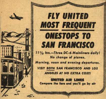 United Air Line's San Francisco – Fly United Most Frequent Onestops to San Francisco (1951)