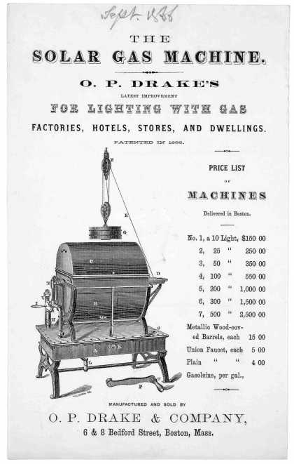 The solar gaz machine. O. P. Drake's latest improvement for lighting with gas. factories, hotels, stores, and dwellings ... Manufactured and sold by O (1866)